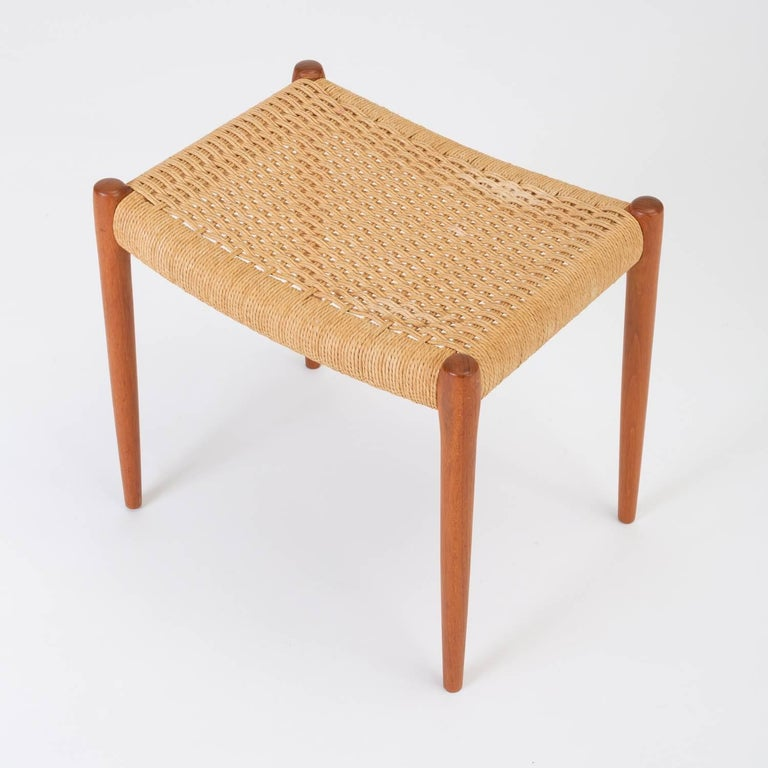 Teak Model 80A Ottoman by Niels Møller with Danish Cord Seat In Excellent Condition For Sale In Los Angeles, CA