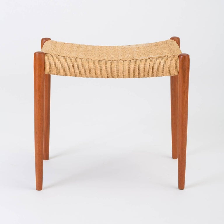 Mid-20th Century Teak Model 80A Ottoman by Niels Møller with Danish Cord Seat For Sale