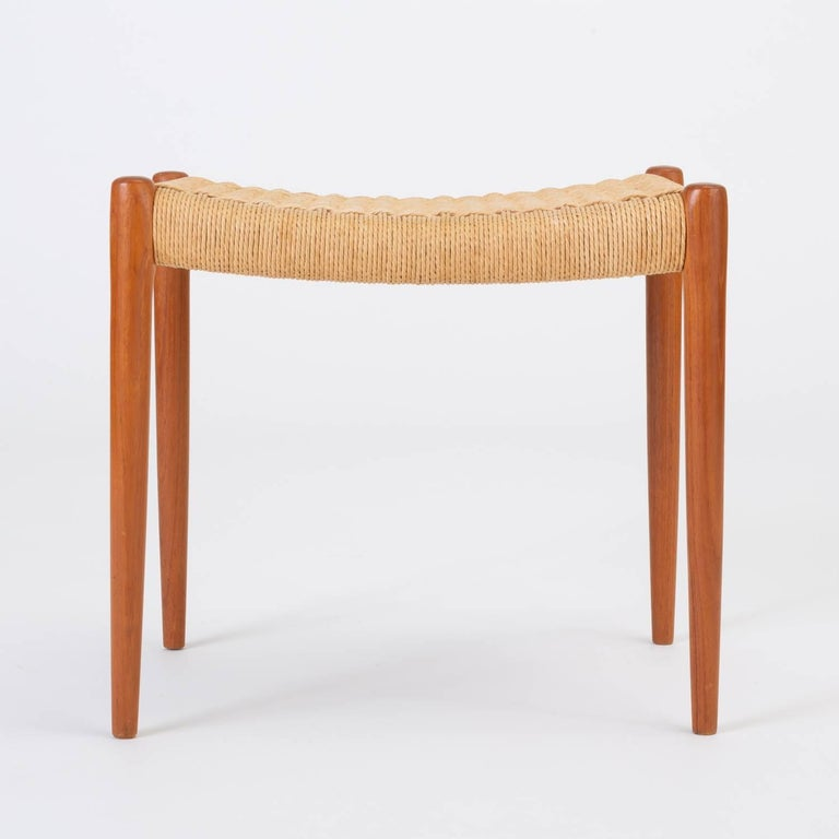 Papercord Teak Model 80A Ottoman by Niels Møller with Danish Cord Seat For Sale