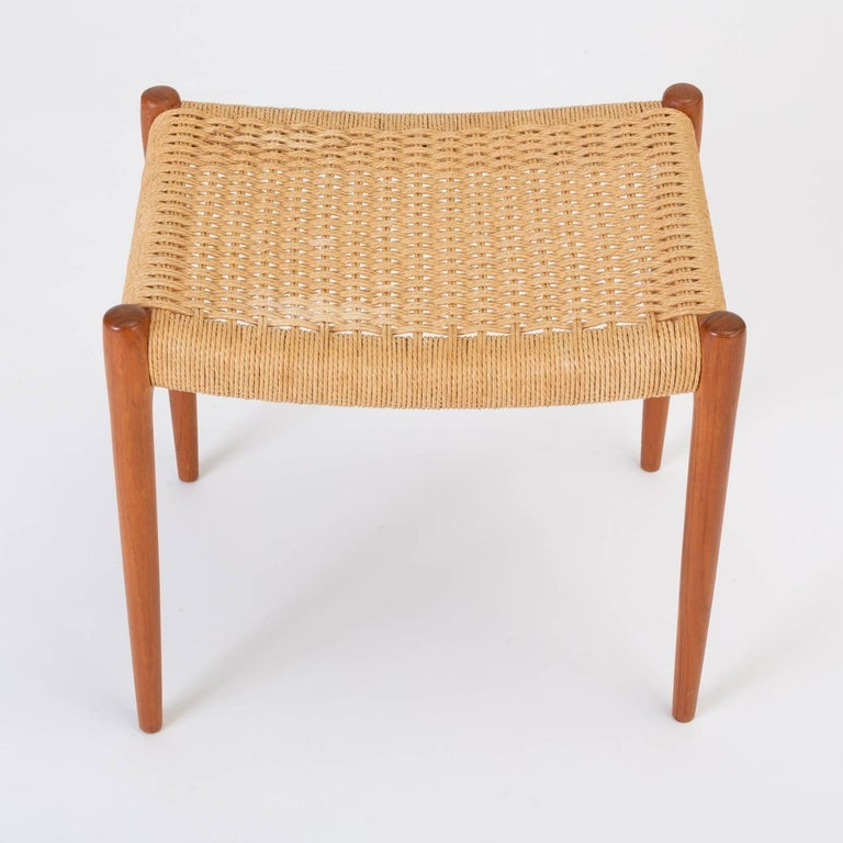 Teak Model 80A Ottoman by Niels Møller with Danish Cord Seat For Sale 1