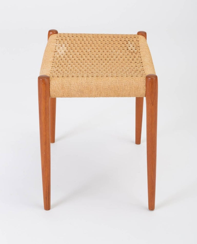 Teak Model 80A Ottoman by Niels Møller with Danish Cord Seat For Sale 2