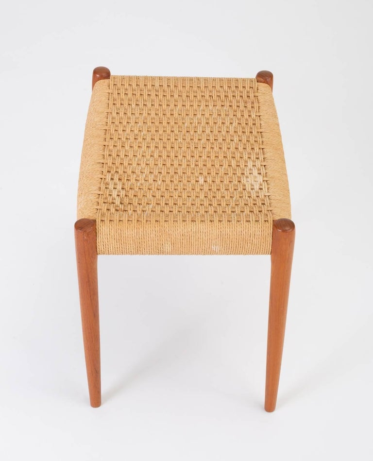 Teak Model 80A Ottoman by Niels Møller with Danish Cord Seat For Sale 4