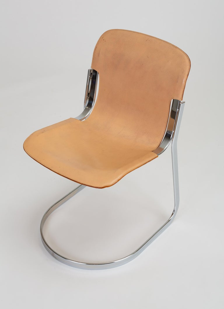20th Century Set of Six Chrome and Leather Dining Chairs by Willy Rizzo for Cidue For Sale
