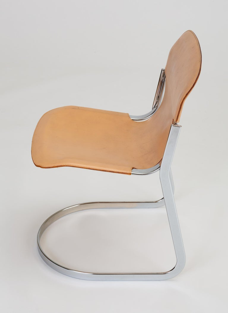 Set of Six Chrome and Leather Dining Chairs by Willy Rizzo for Cidue For Sale 3