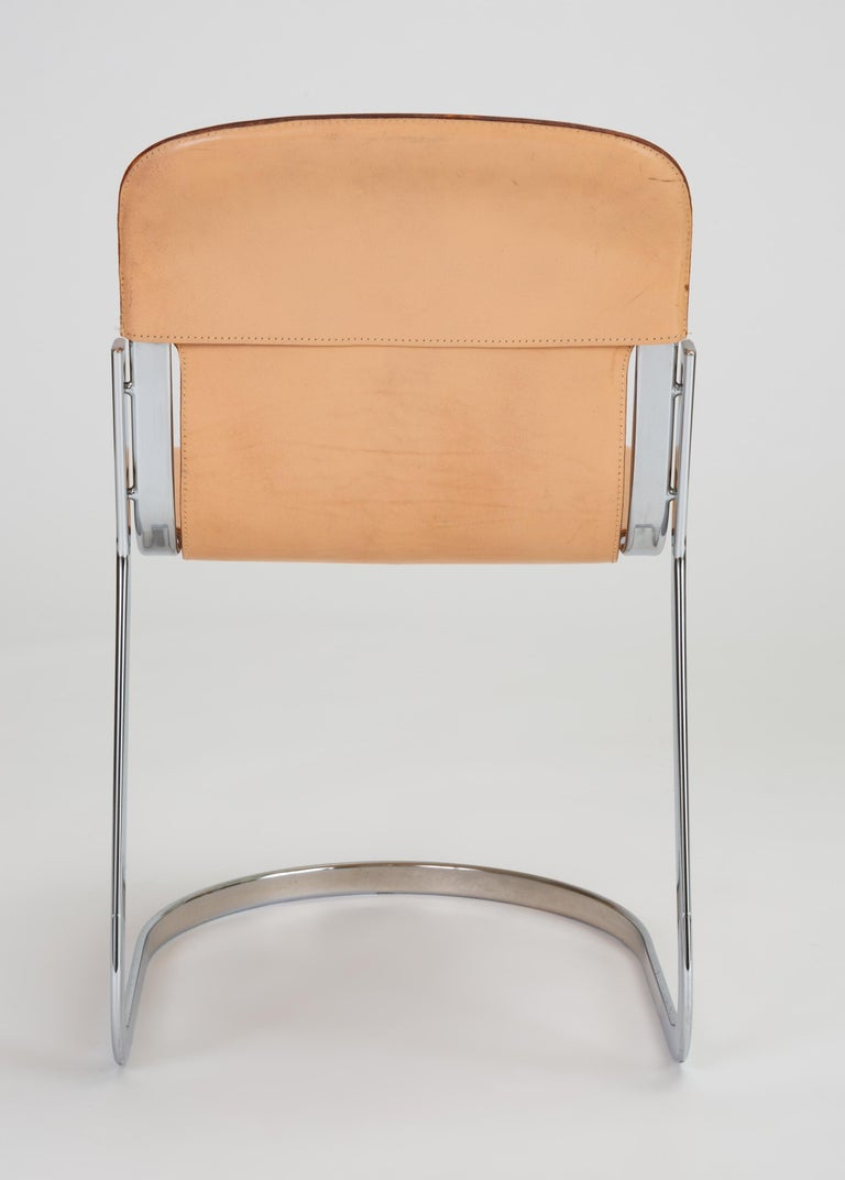 Set of Six Chrome and Leather Dining Chairs by Willy Rizzo for Cidue For Sale 4