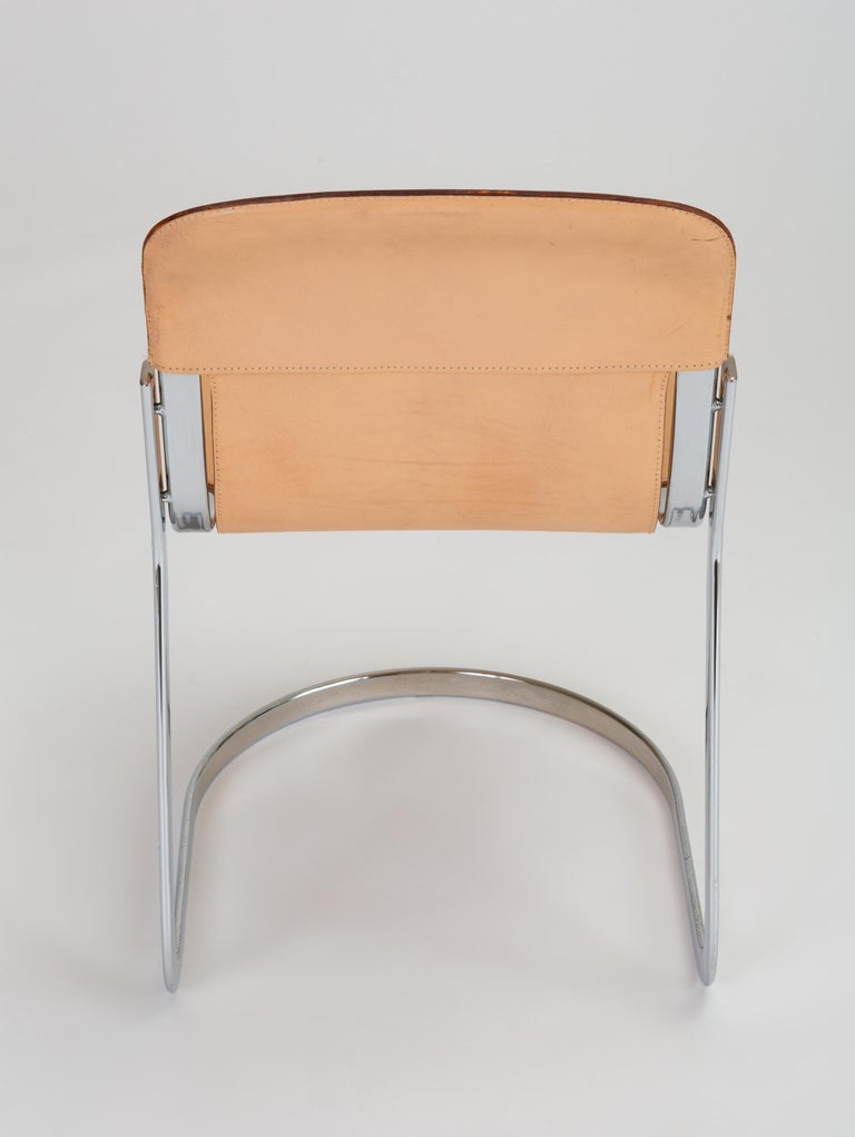 Set of Six Chrome and Leather Dining Chairs by Willy Rizzo for Cidue For Sale 5