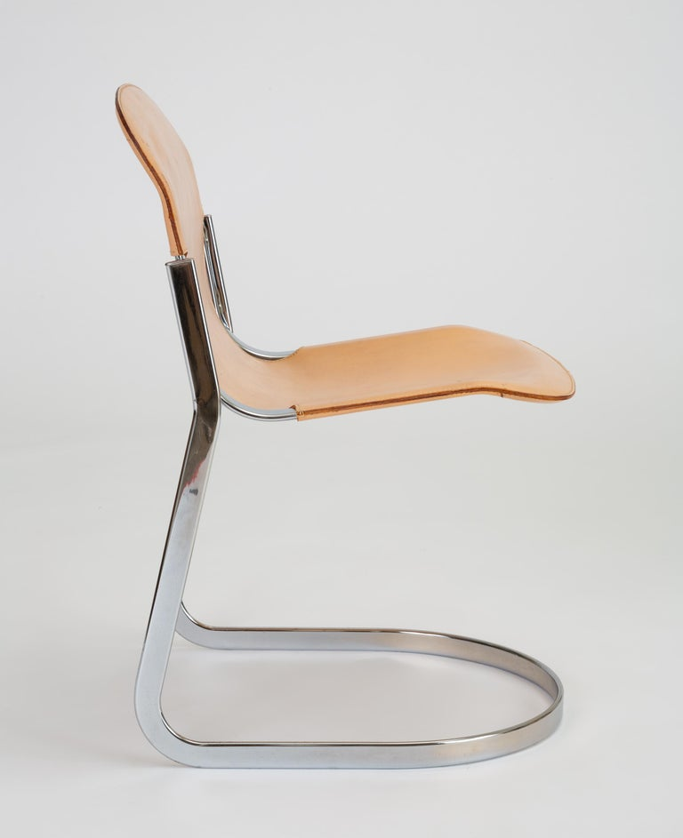 Set of Six Chrome and Leather Dining Chairs by Willy Rizzo for Cidue For Sale 7