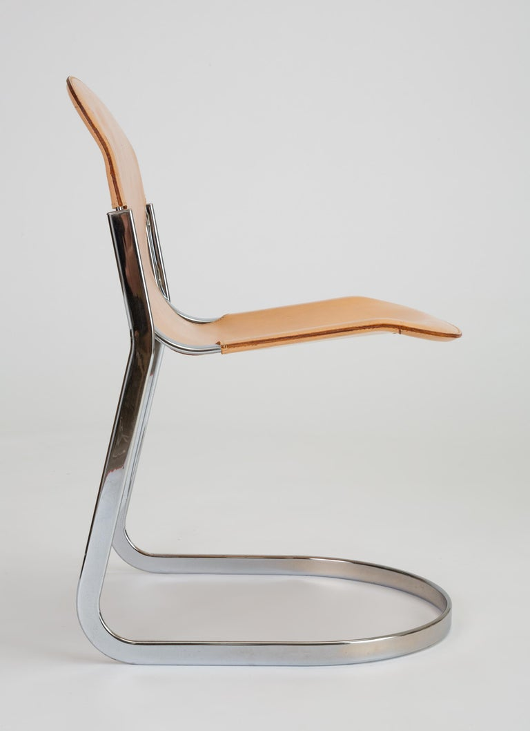Set of Six Chrome and Leather Dining Chairs by Willy Rizzo for Cidue For Sale 8