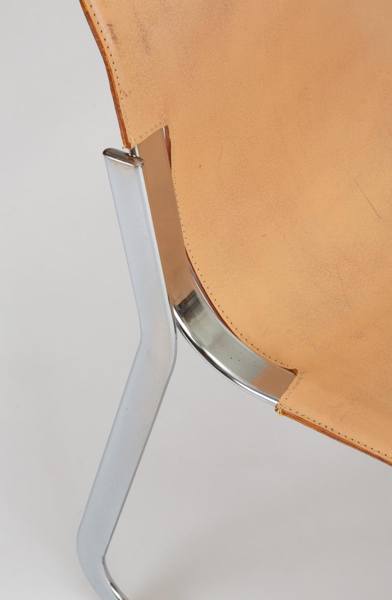 Set of Six Chrome and Leather Dining Chairs by Willy Rizzo for Cidue For Sale 10