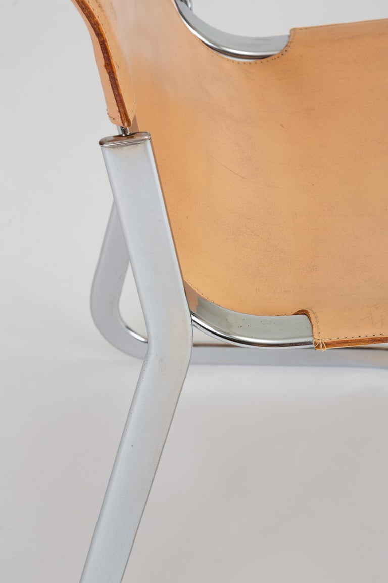 Set of Six Chrome and Leather Dining Chairs by Willy Rizzo for Cidue For Sale 11