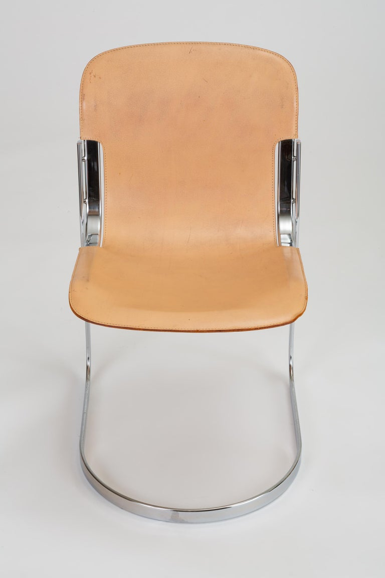 Italian Set of Six Chrome and Leather Dining Chairs by Willy Rizzo for Cidue For Sale