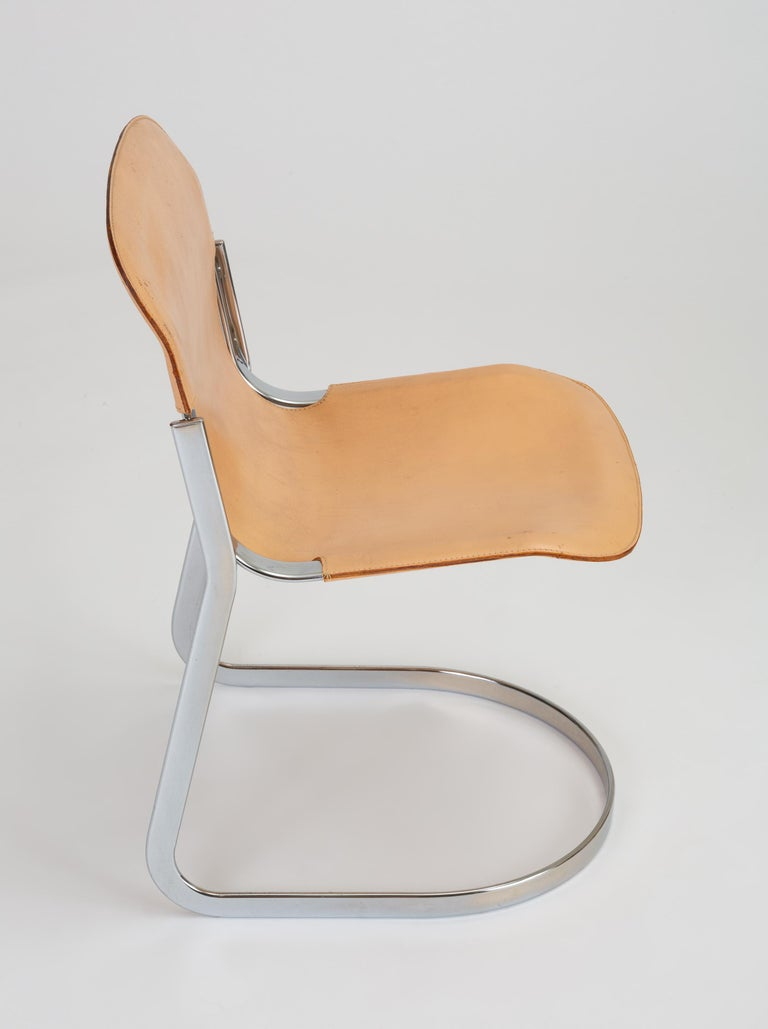 Set of Six Chrome and Leather Dining Chairs by Willy Rizzo for Cidue For Sale 6