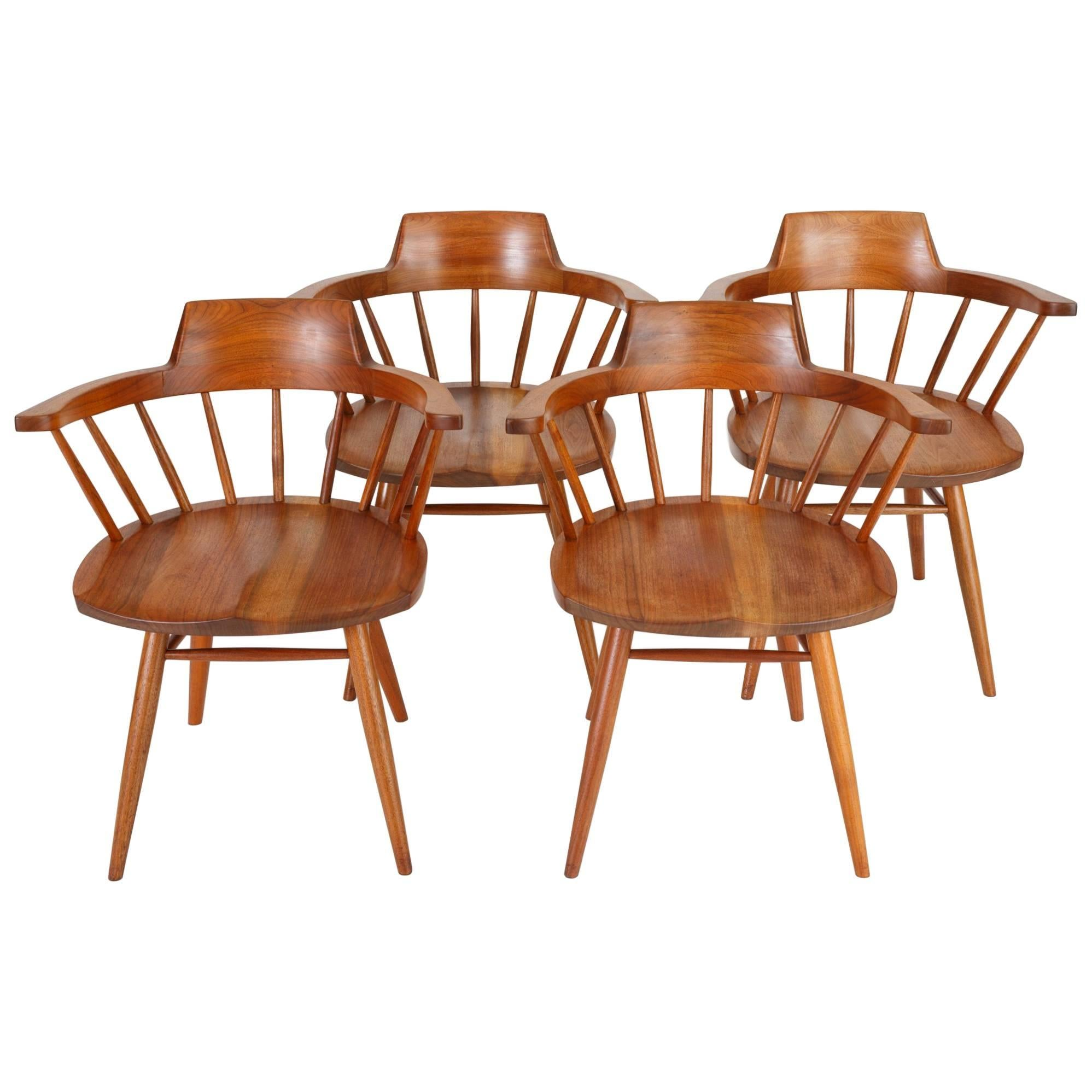 Set Of Four Black Walnut Captainu0027s Chairs By George Nakashima Studio