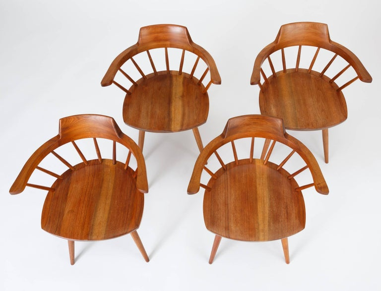 Mid-Century Modern Set of Four Black Walnut Captain's Chairs by George Nakashima Studio For Sale