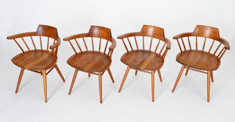 Set of Four Black Walnut Captain's Chairs by George Nakashima Studio In Excellent Condition For Sale In Los Angeles, CA