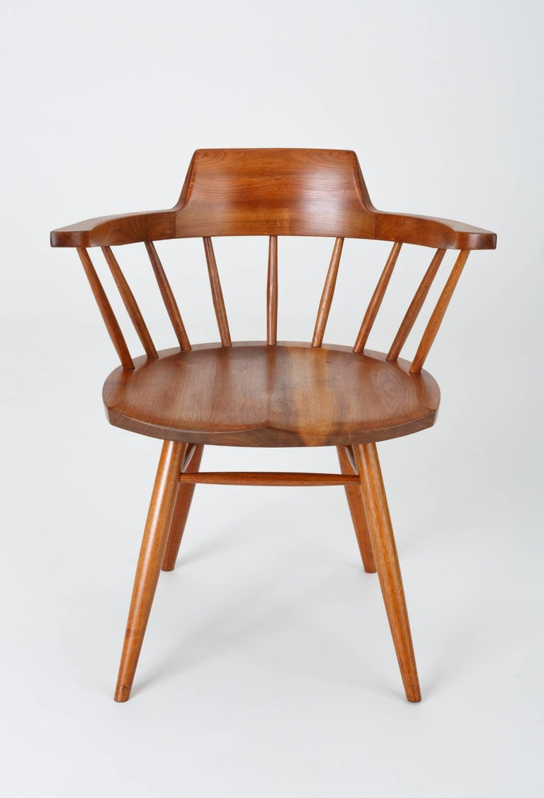 Set of Four Black Walnut Captain's Chairs by George Nakashima Studio For Sale 1