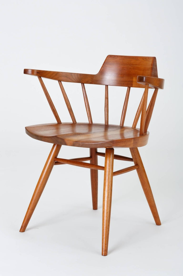 Set of Four Black Walnut Captain's Chairs by George Nakashima Studio For Sale 2