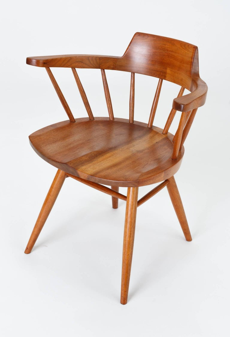Set of Four Black Walnut Captain's Chairs by George Nakashima Studio For Sale 3