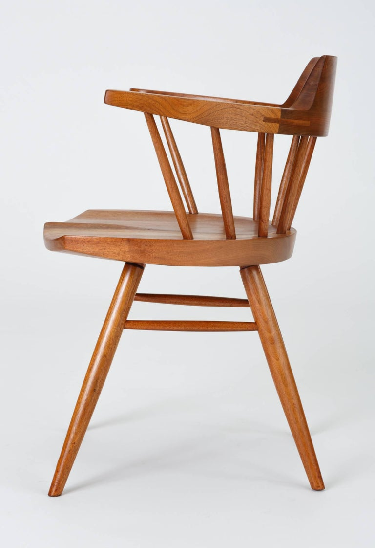 Set of Four Black Walnut Captain's Chairs by George Nakashima Studio For Sale 4