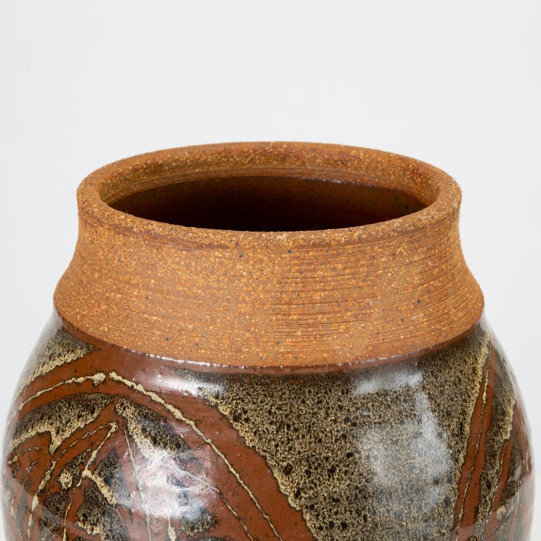 California Modern Studio Pottery Urn with Leaf Pattern by Don Jennings For Sale 2