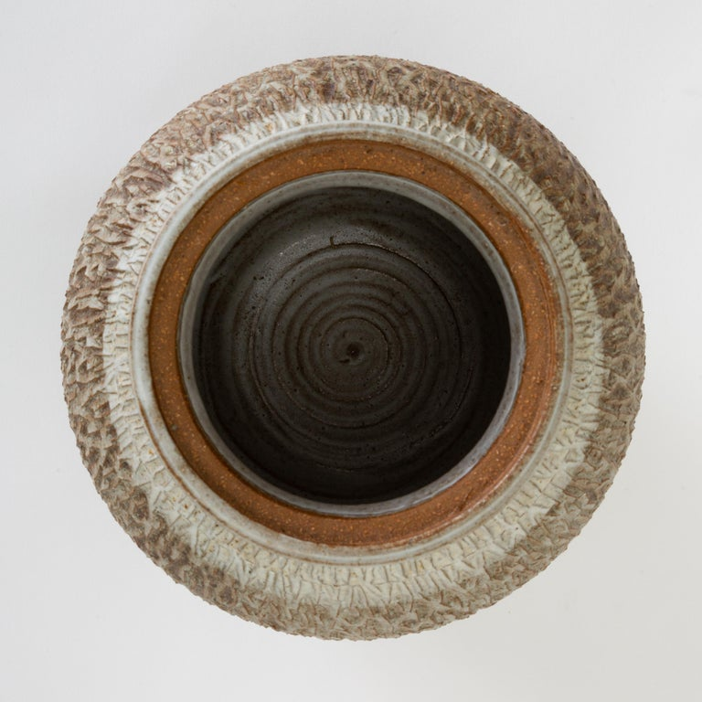 20th Century California Modern Textured Studio Pottery Vessel with Lid by Don Jennings For Sale