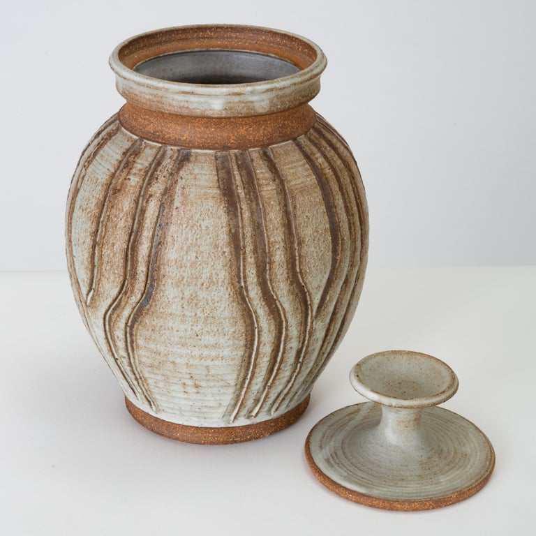 Glazed California Modern Incised Studio Pottery Vessel with Lid by Don Jennings For Sale