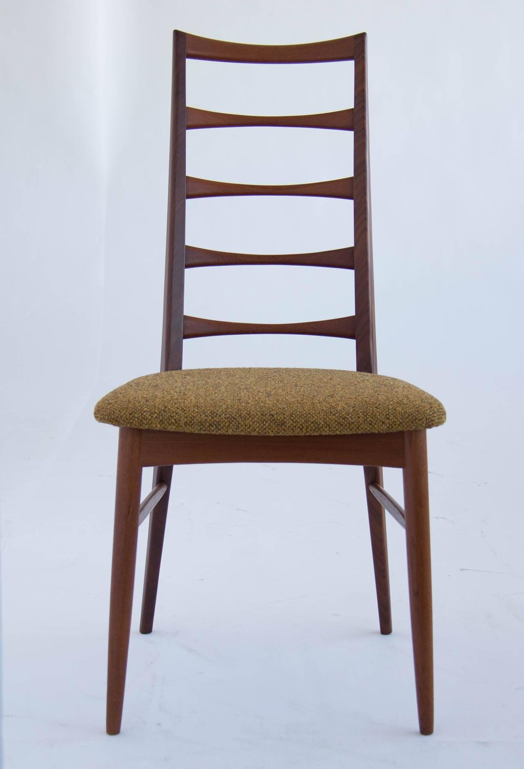 Set of koefoeds hornslet teak ladder back dining chairs for sale at 1stdibs - Ladder back dining room chairs ...