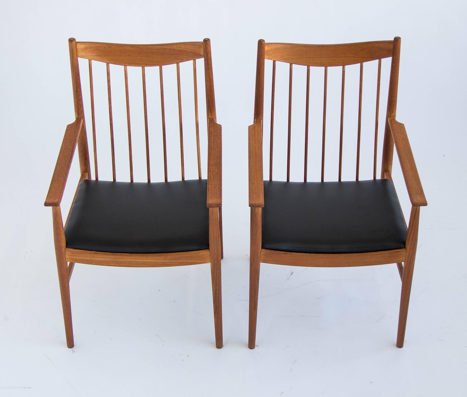 Arne vodder pair of teak quot captain dining arm chairs for