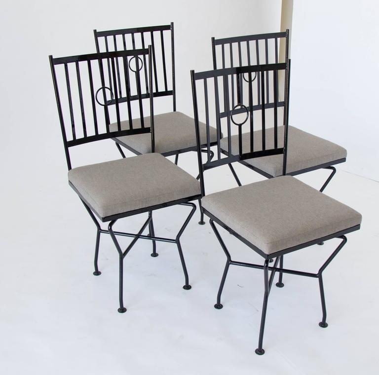 Set Of Four Swivel Wrought Iron Patio Dining Chairs For Sale At 1stdibs