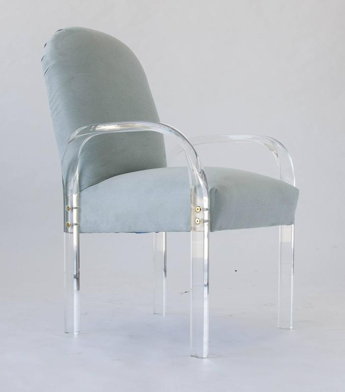 Set Of Eight Dining Chairs With Lucite Arms For Sale At 1stdibs