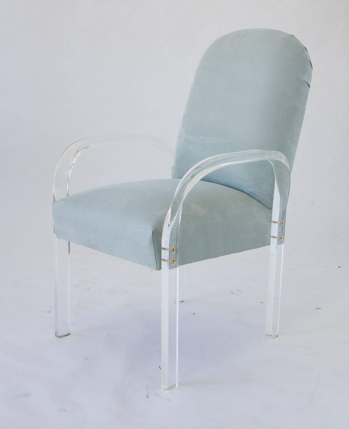 Set Of Eight Dining Chairs With Lucite Arms For Sale At