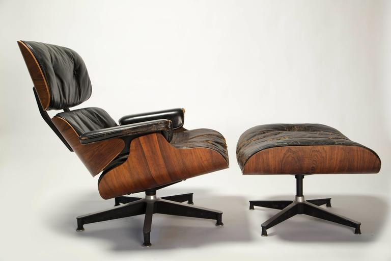 Early Eames 670/671 Lounge Chair and Rotating Ottoman 3