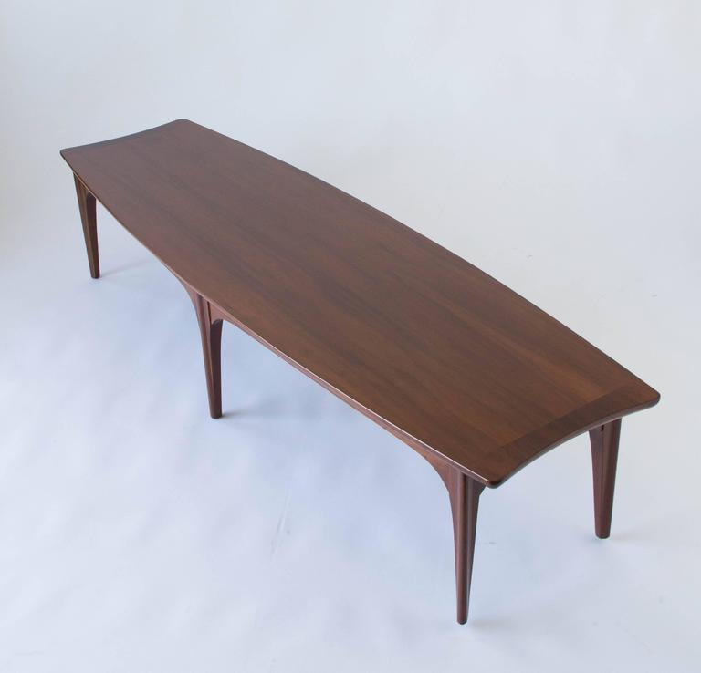 Mid Century Modern American Made Surfboard Coffee Table In Walnut And  Rosewood For Sale