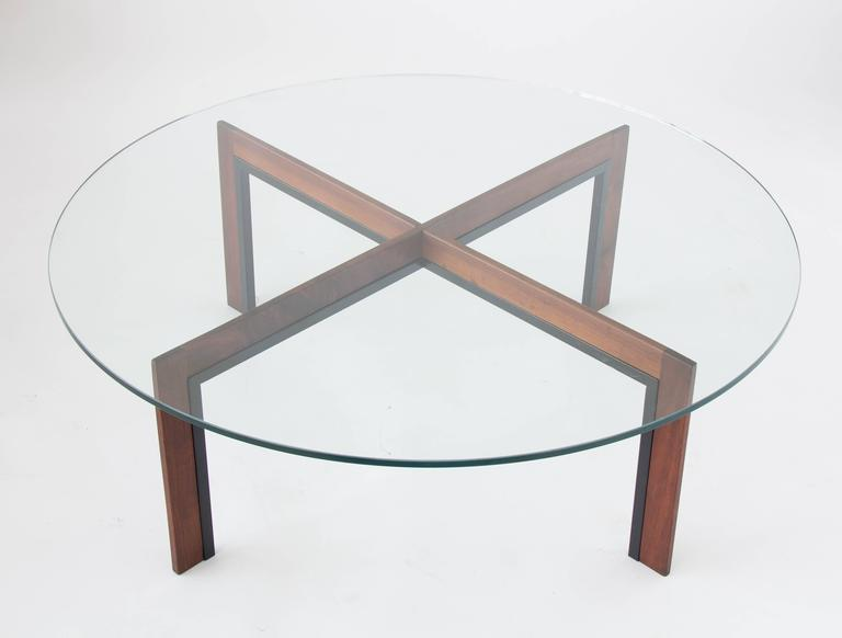 Mid century glass topped coffee table with iron and walnut base at 1stdibs One piece glass coffee table