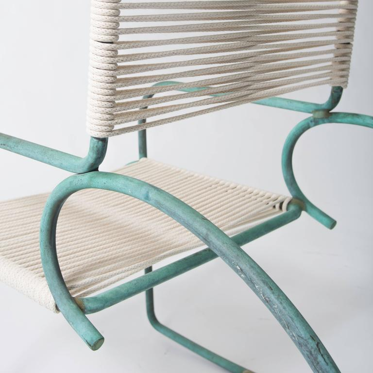 American Single Walter Lamb Bronze and Rope Patio Rocking Chairs