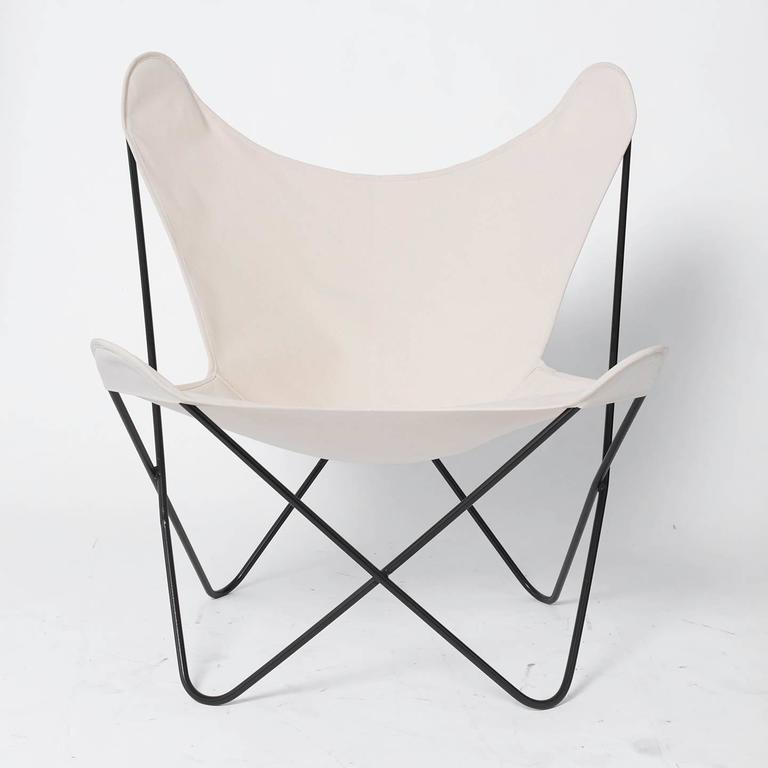 Two Jorge Ferrari Hardoy Designed Butterfly Chairs With New, Natural Canvas  Slings. The