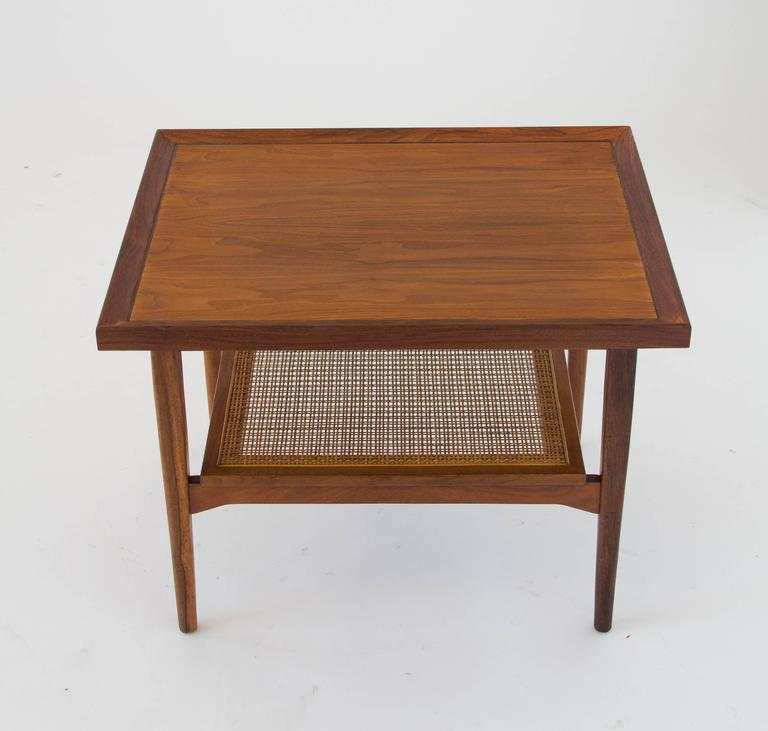Mid-Century Modern Drexel Declaration Side Table with Cane Shelf For Sale