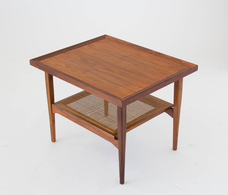 Mid-20th Century Drexel Declaration Side Table with Cane Shelf For Sale