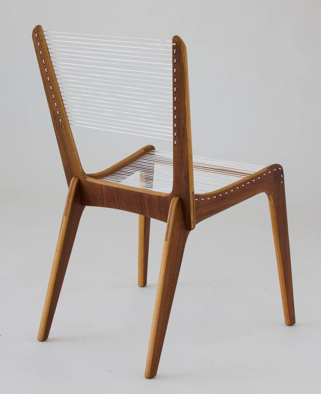 Veneer Jacques Guillon Cord Chair For Sale