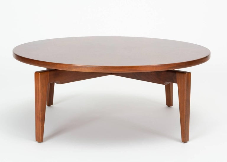 Mid-Century Modern Jens Risom Lazy Susan Coffee Table For Sale