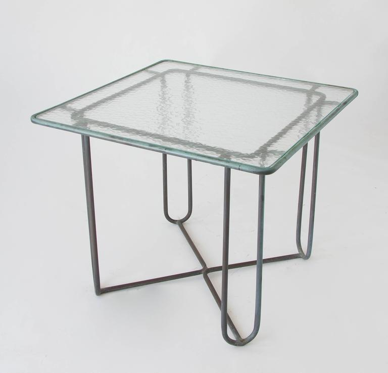 Hammered Walter Lamb Square Patio Dining Table For Sale