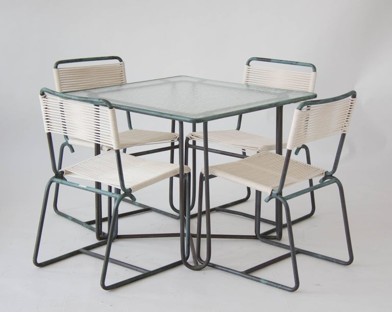 20th Century Walter Lamb Square Patio Dining Table For Sale