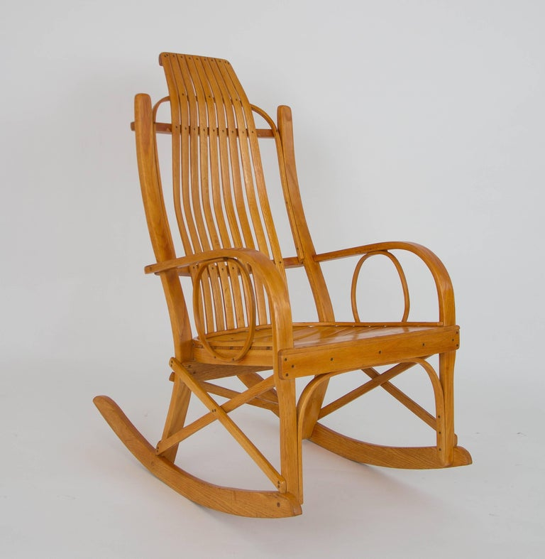 Bentwood Adirondack Rocking Chair with Slatted Seat For Sale at 1stdibs