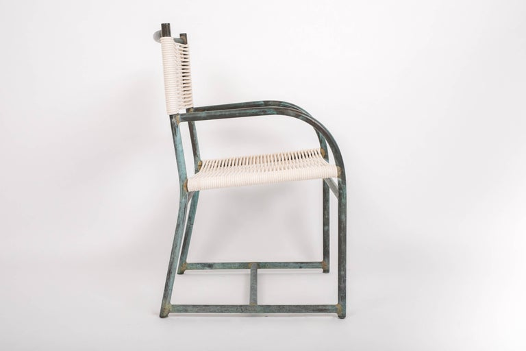 Mid-Century Modern Set of Six Early Model Bronze Patio Dining Chairs by Walter Lamb For Sale