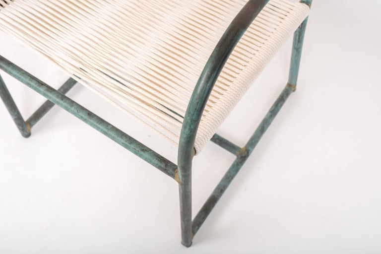 Set of Six Early Model Bronze Patio Dining Chairs by Walter Lamb For Sale 3