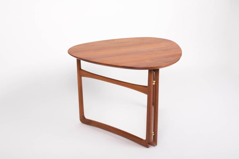 Scandinavian Modern Trilateral Folding Side Table by Peter Hvidt and Orla Mølgaard-Nielsen For Sale
