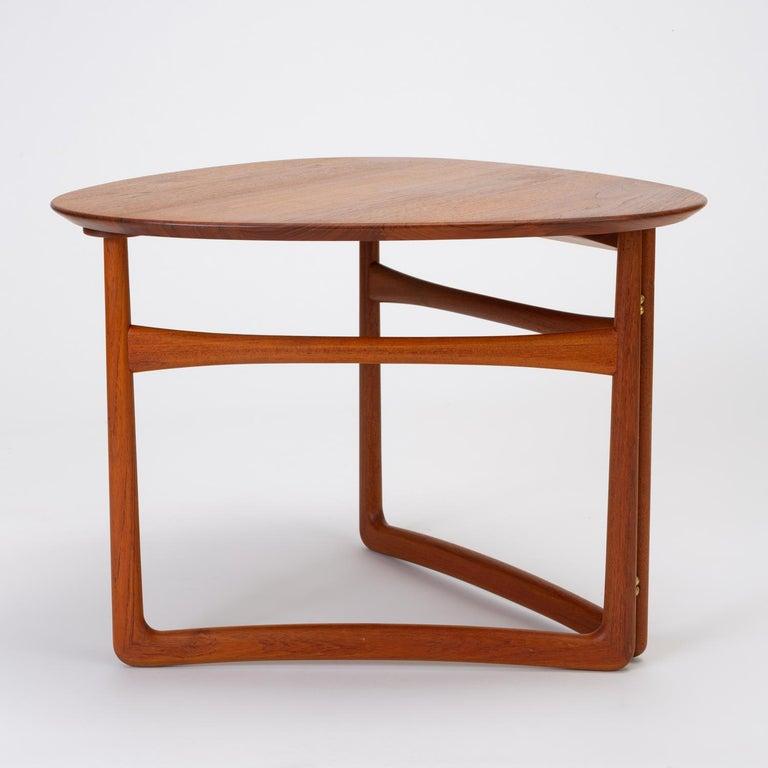 Scandinavian Modern Trilateral Folding Side Table by Peter Hvidt and Orla Mølgaard-Nielsen For Sale
