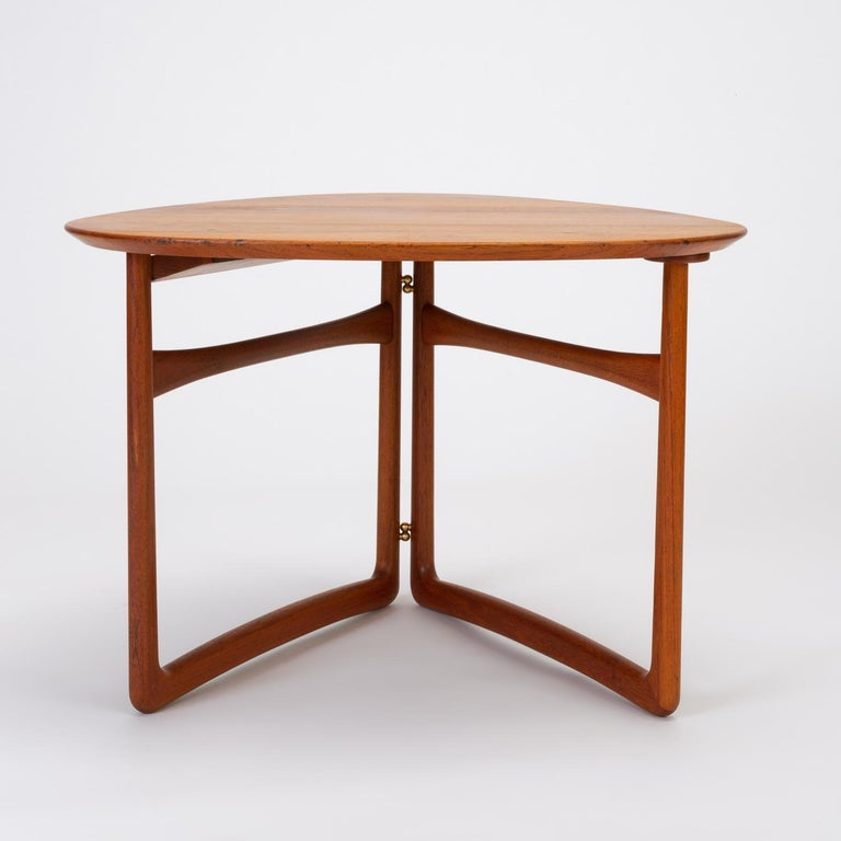 Brass Trilateral Folding Side Table by Peter Hvidt and Orla Mølgaard-Nielsen For Sale