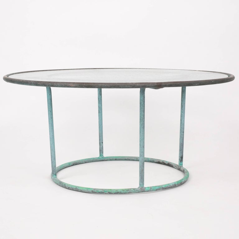 Mid-Century Modern Walter Lamb Round Coffee Table with Hammered Glass Top For Sale