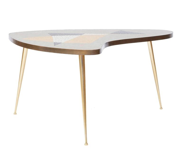 Organic Mid-Century Modern Coffee Table With Brass And